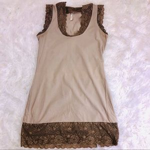 FREE PEOPLE Lace Trimmed Fitted Long Tank Top